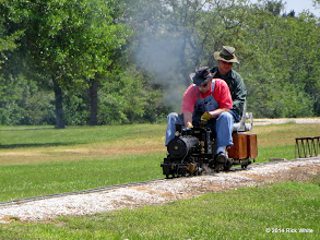 Photo: Engineer Clyde Brown and passenger Cody Crawford     HALS Public Run Day 2014-0419 RPW  12:11 PM