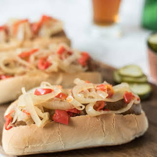 Slow Cooker Beer Bratwurst With Onions And Peppers.