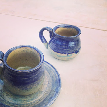 Cup n saucer  Sea color  Cone5 Aug,2014 #ceramics #sea #cup #hk
