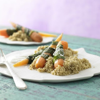 Steamed Carrots and Wild Garlic.