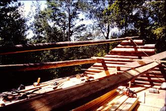 Photo: Getting ready to set the ridge pole.