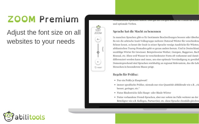 ZOOM Premium to increase font sizes