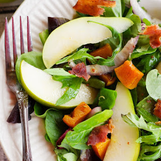 Pear and Butternut Salad with a Maple Balsamic Vinaigrette.