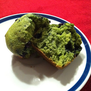Leprechaun Muffins with Blueberries (colored with spinach)