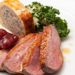 Goose Breast With Goose Leg Sausage Roll, Kale And Cranberry Relish.