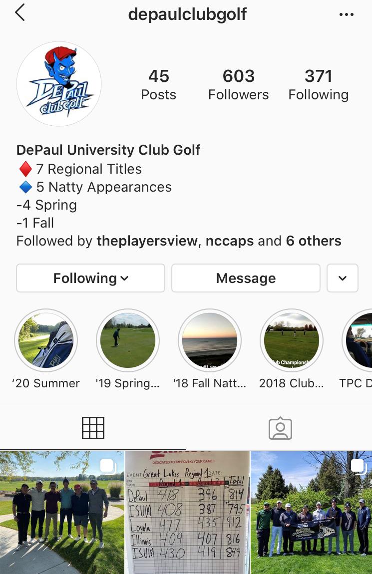 Depaul College Golf Instagram