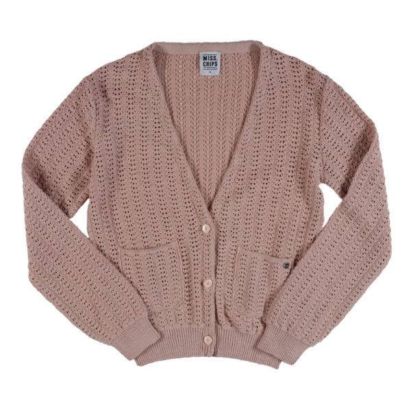 A jour V-neck Cardigan Sunkissed