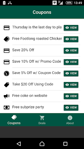 Coupons for Subway for PC