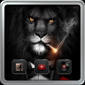 Лев в черном костюме теме