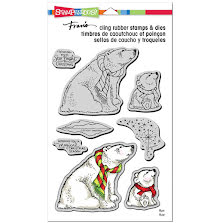 Stampendous Cling Stamp & Die Set 9X5.25 - Polar Bears