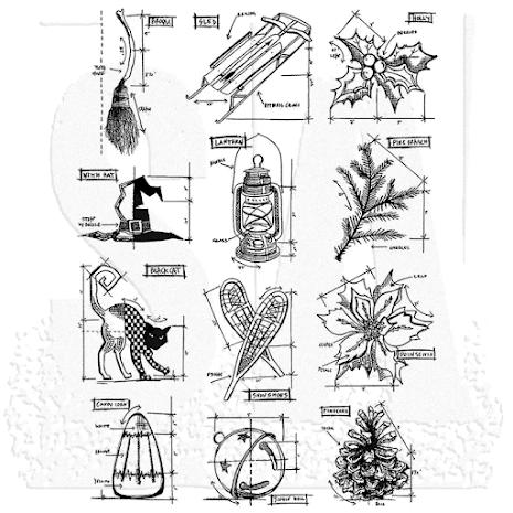 Tim Holtz Cling Stamps 7X8.5 - Mini Blueprints 7