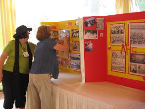 Photo: Marylee Grant Goyan and Barbi Knopp Wesser setting up Marylee's photo boards