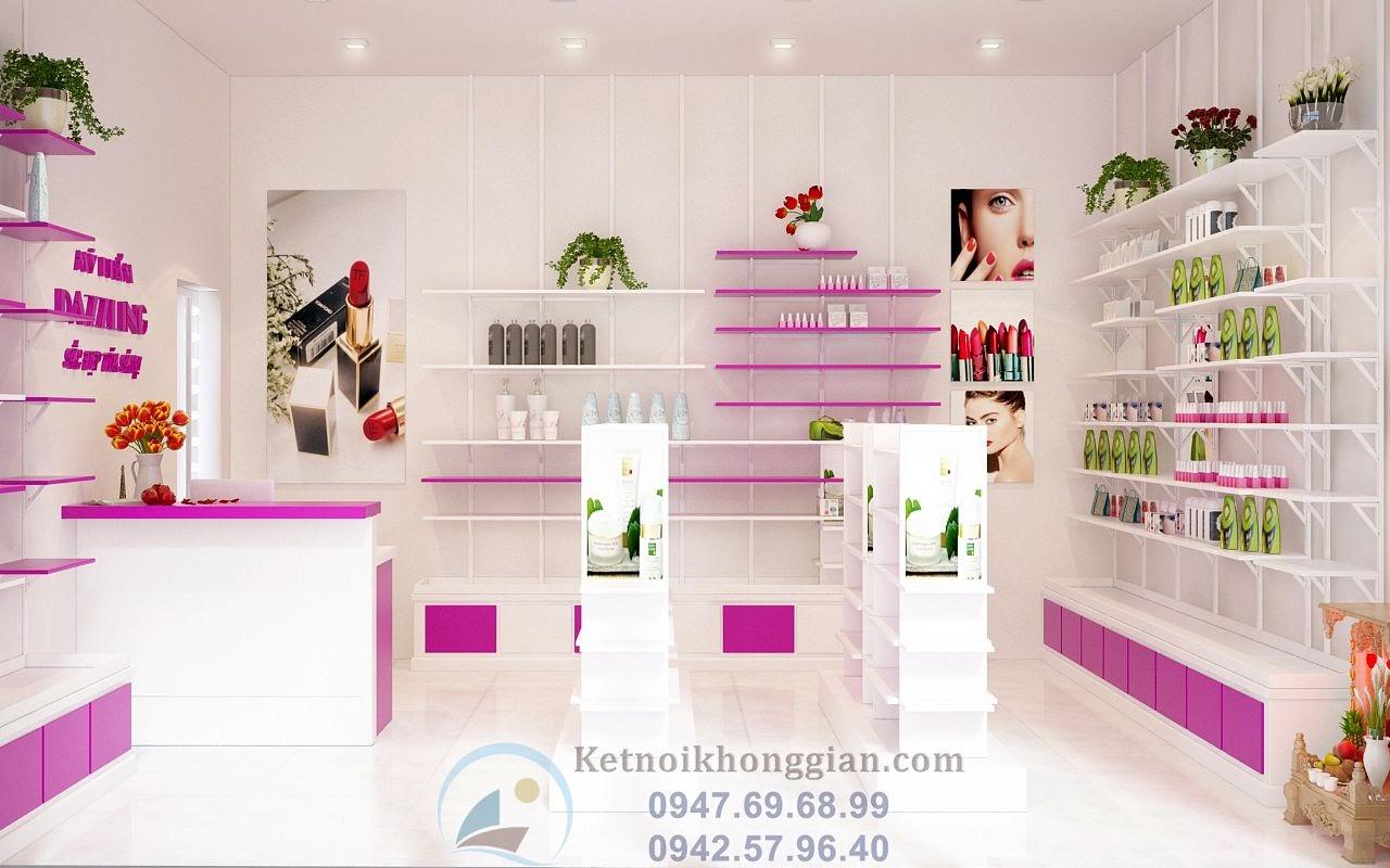 thiết kế cửa hàng mỹ phẩm trắng hồng đẹp mắt