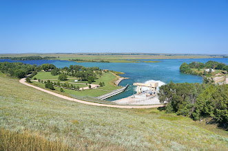 Photo: On the discharge (east) side of Kingsley Dam is Lake Ogallala, commonly called the 'Little Lake'. Water flows out of Lake McConaughy through the Morning Glory tower, and out the other side of the dam through the hydroelectric plant into Lake Ogallala where the water continues flowing down the North Platte River. This smaller lake has rocky shores, but is well known for great camping and fishing.