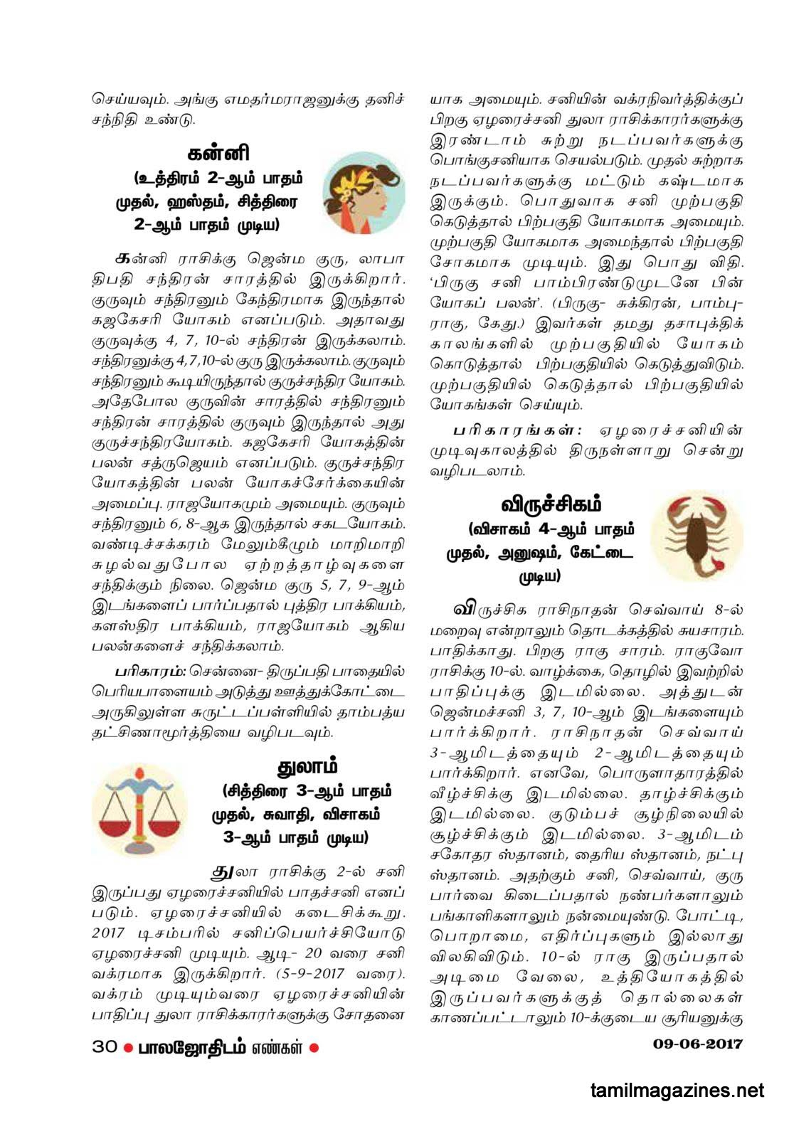 Balajothidam Raasi Palan June 6 to June 12, 2017