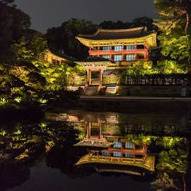 Palace at night 2 by Varok Saurfang - Buildings & Architecture Public & Historical ( reflection, night, architecture, palace, pond )