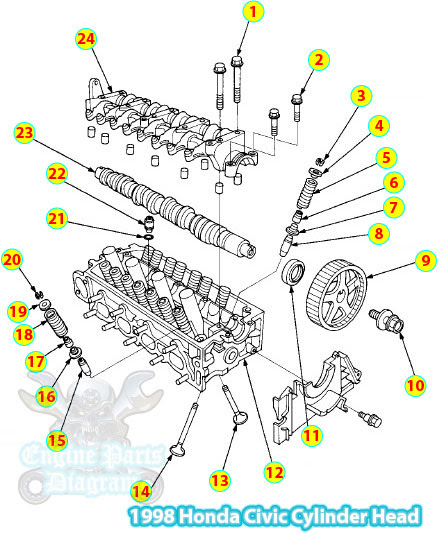 1998 Honda Civic Cylinder Head Parts Diagram D16y7 Engine