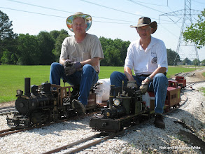Photo: C&S 22, a 2-6-0, with Phillip Bell passes Shay with Doug Blodgett.  HALS-SLWS 2009-0522