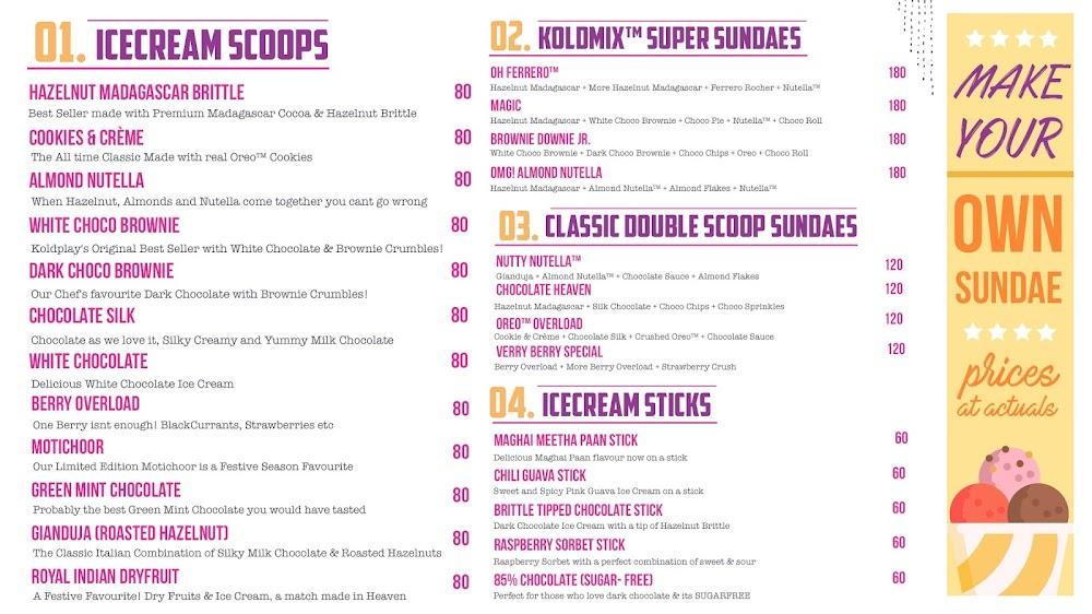 Koldplay Cremerie menu 1