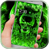 Green Flame Skull Theme
