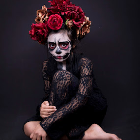 Emma Day of the Dead by Debbie Duggar - People Portraits of Women ( lace, red, makeup, day of the dead, flowers )
