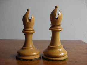 Photo: CH248: a bishop from this set (left) compared to one from an early C20th 3.5in set (CH133). The shape of the mitre, its cleft and the degree to which the knop is affected by the cleft are well-researched, but it would seem from this that there may well be significant differences in the height of bishops between periods, too.