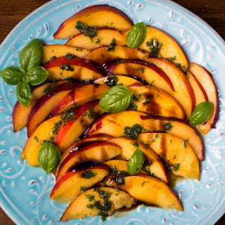 Peaches With Basil Sauce And Balsamic Vinegar, Fresh And Summery.