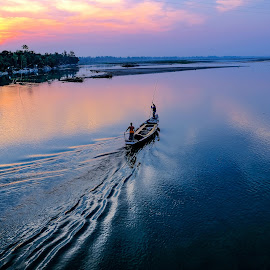Fishing Boat At Sunset by Mamunur Rashid - Landscapes Waterscapes ( fishing boat, river, fisherman, sun, boat,  )