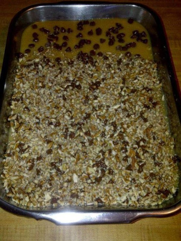 Sprinkly choc. chips over hot caramel mixture, then sprinkly chopped nuts on top. Chill...