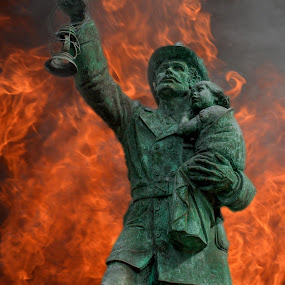 Fireman's Memorial by Darrin Halstead - Digital Art Things ( firefighter, statue, memorial, honor, fireman, firemen, memory, fire,  )
