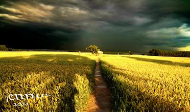 Photo: nach dem Gewitter - lange Schatten am späten Nachmittag  dark clouds