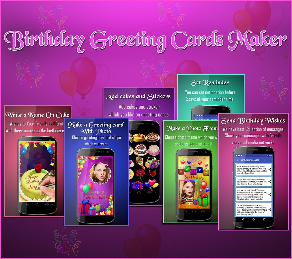 Birthday Greeting Cards Maker photo frames cakes Android Apps – Birthday Card Maker Download
