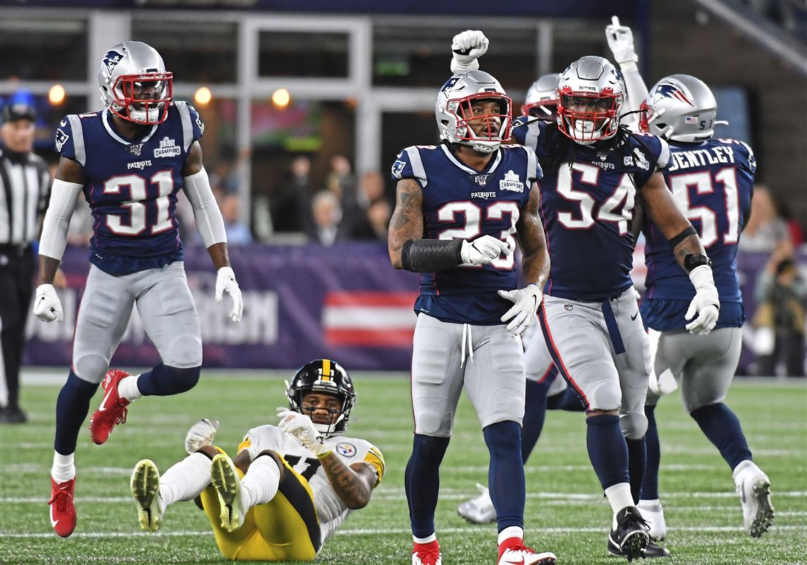The Patriot's defense celebrating on a night with much to be happy about.