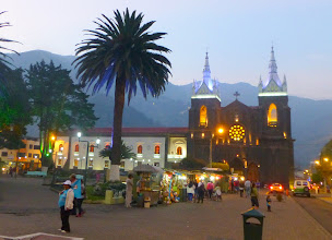 Photo: Banos main square with cathedral, evening