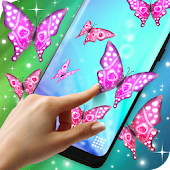 Pink Sparkly Butterflies on Screen