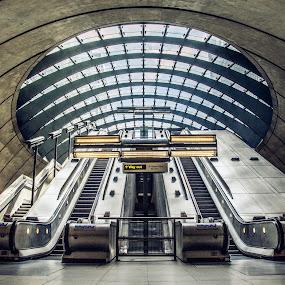 Canary Wharf Underground by Sarah Tregear - Buildings & Architecture Other Interior ( london, station, tube, canary wharf, steps, underground, escalator,  )