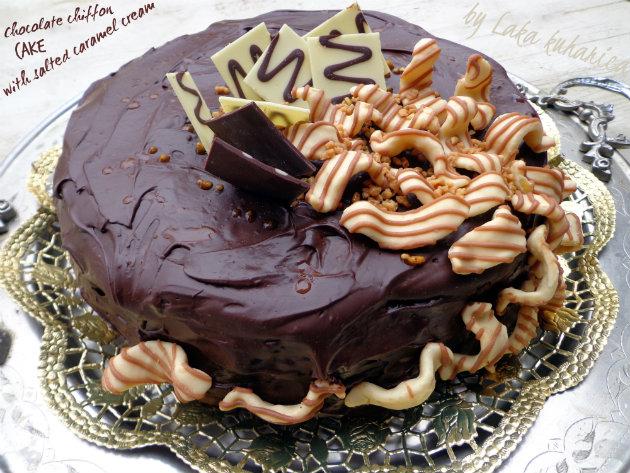 Chocolate Chiffon Cake with Salted Caramel Cream Recipe