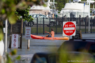 Photo: The parking lot was under water from the rising seas and waves - this guy had the right idea