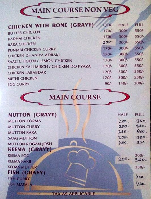 Bhashi's Family Restaurant menu 3