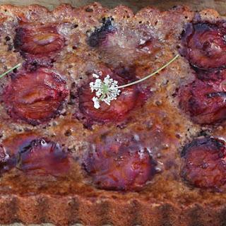 Plum Almond Crustless Tart
