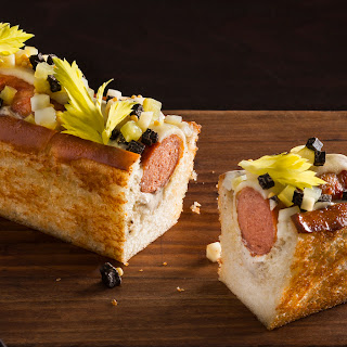 Humm Dog With Bacon, Black Truffle And Celery.