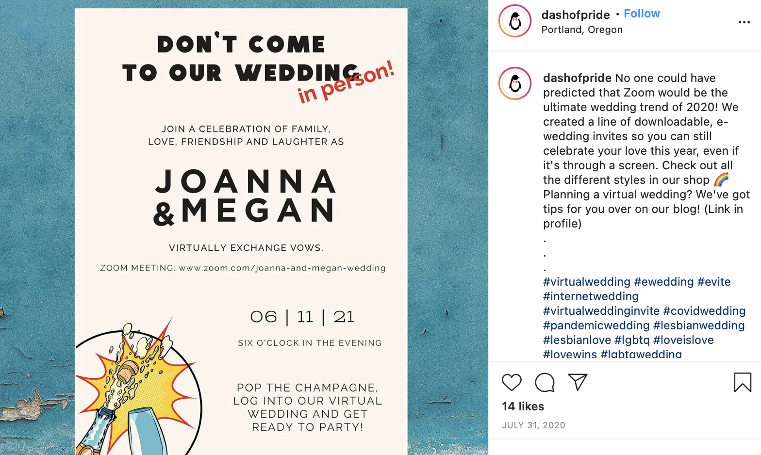 wedding invitation to a virtual wedding
