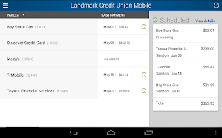 Screenshot of Landmark Credit Union Mobile