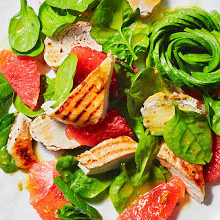 Avocado Rose, Grapefruit And Grilled Chicken Salad.
