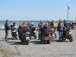 Photo: A motley crew - riding on a colorful assortment of bikes - In this shot we have 1 Goldwing (Doug), one Burgman (Lee), 2 KLRs (Dave and Nancy), 1 Versys (Jim), 2 BMWs (Gretta and Greg)Proof that ADVRiders in the Northern Ontario group are an open bunch...
