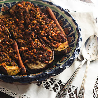 Stuffed Eggplant with Lamb & Pine Nuts
