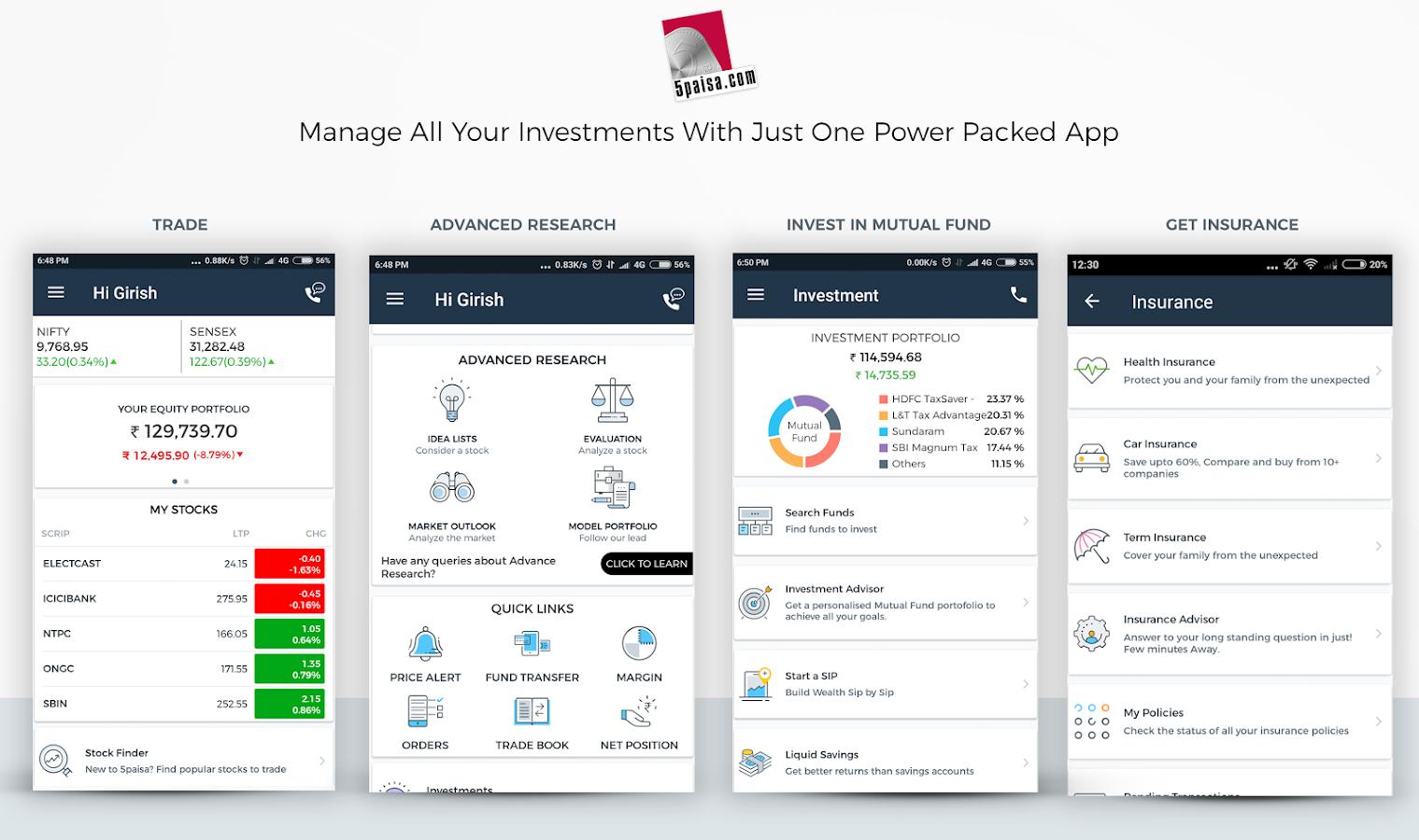 En customer account create/downloader - 5paisa Trading Robo Advisory Screenshot