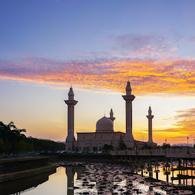 Beautiful morning by Firdaus Haron - Landscapes Sunsets & Sunrises ( orange, reflection, mosque, sunsets, sony alpha, malaysia, landscape,  )