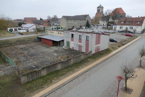 Aus der Vogelperspektive: Marktplatz der Stadt Gartz (Oder). Foto: asc