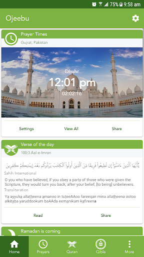 Ojeebu - Prayer Times, Quran, Qibla, Ummah Ramadan screenshot 1